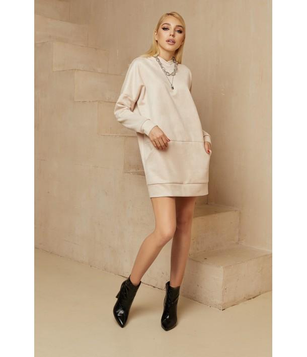 Молочна міні сукня-худі замшева