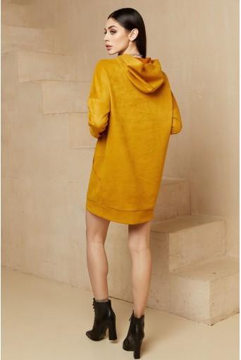 Горчичное мини платье-худи замшевое