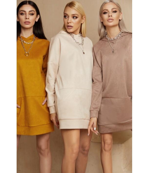 Гірчична міні сукня-худі замшева