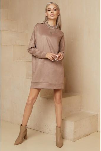 Бежевое мини платье-худи замшевое