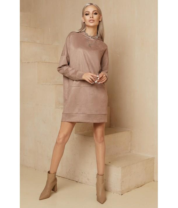 Бежева міні сукня-худі замшева