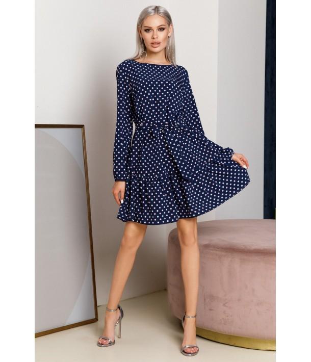 Темно-синее платье с оборкой по низу в молочный горох
