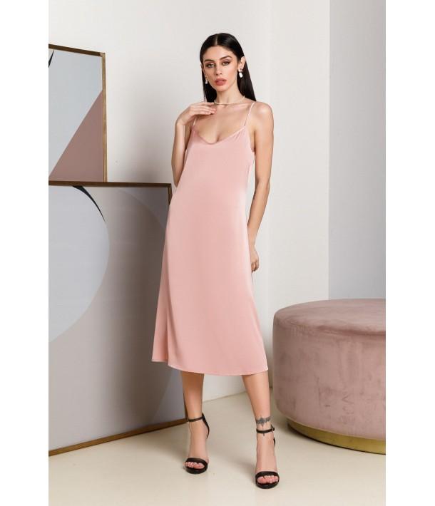 Шелковое платье-комбинация миди розовое