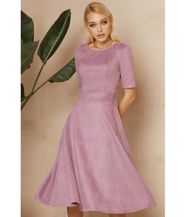Сиреневое замшевое платье ниже колена