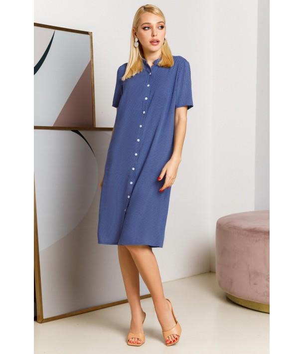 Синее платье-рубашка в горошек из штапеля