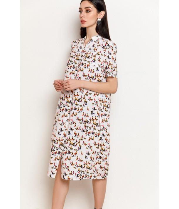 Молочна сукня-сорочка з принтом чоловічки з штапеля