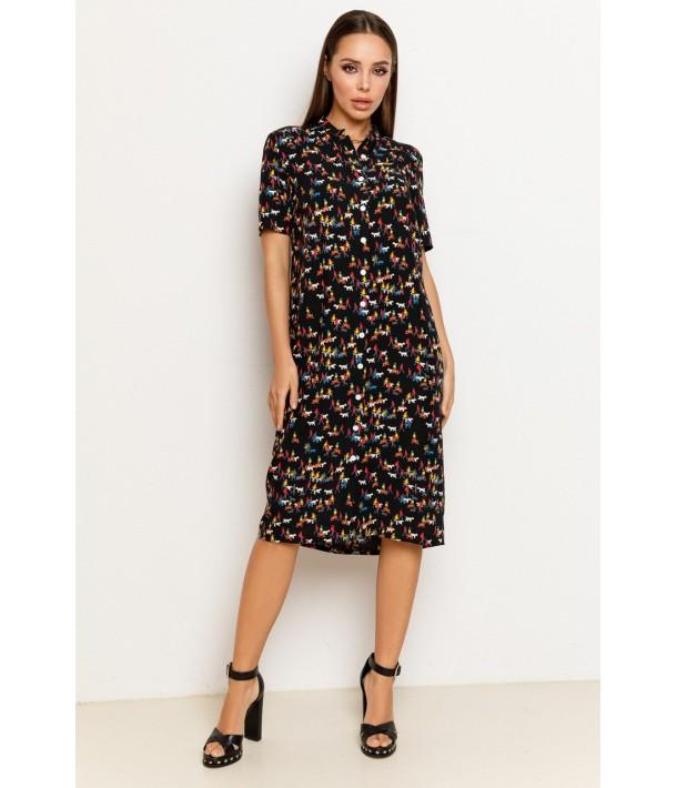 Чорна сукня-сорочка з принтом чоловічки з штапеля