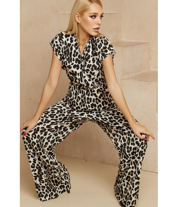 Комбінезон без рукавів з кольоровим леопардовим принтом